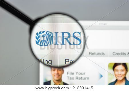 Milan Italy - August 10 2017: IRS website homepage. It is the revenue service of the United States federal government. Irs logo visible.