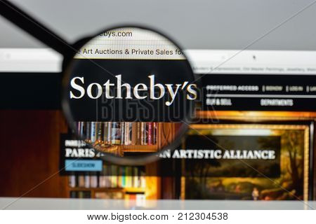 Milan, Italy - August 10, 2017: Sotheby's Website. It Is A British Multinational Corporation . One O