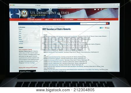 Milan, Italy - August 10, 2017: State.gov Website Homepage. State Department, Is The United States F