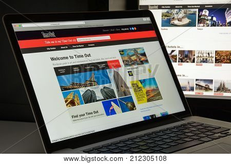 Milan, Italy - August 10, 2017: Timeout.com Website Homepage.  Timeout Logo Visible.