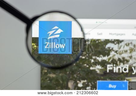 Milan Italy - August 10 2017: Zillow website homepage. Zillow logo visible.