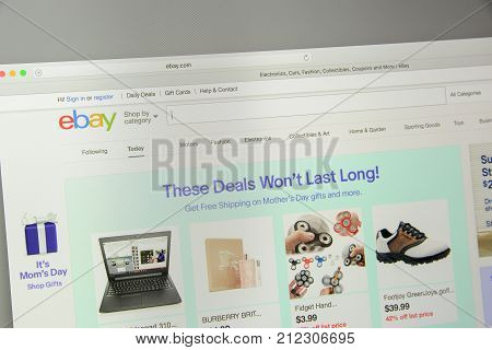 Milan, Italy - May 7, 2017: Homepage Of Ebay Website. Ebay Is A Multinational E-commerce Corporation