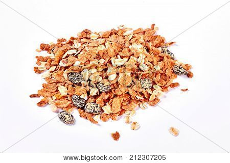 Oat flakes with raisins, white background. Heap of oat flakes on white background. Healthy and nutritious diet concept. poster