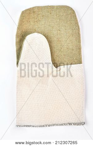 Kitchen textured protective glove. White and green oven glove isolated on white background. Baking or cooking protective glove.