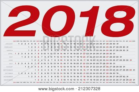 Simple Calendar For 2018. Numbers Within A Grid