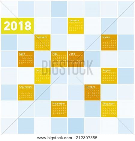 Colorful Calendar For Year 2018, In Vector Format.