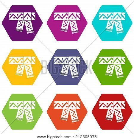 Knitted scarf with pattern icon set many color hexahedron isolated on white vector illustration