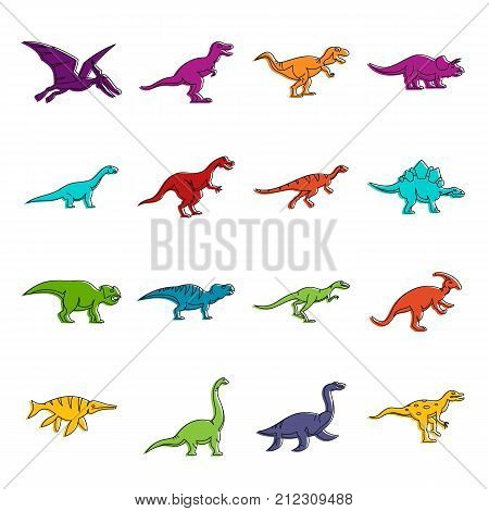 Dinosaur icons set. Doodle illustration of vector icons isolated on white background for any web design
