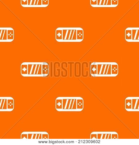 Portable video game console pattern repeat seamless in orange color for any design. Vector geometric illustration