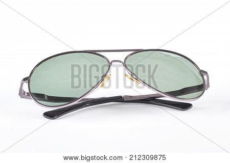 Men sunglasses isolated on white background. Full rim sunglasses silver bamboo frame.