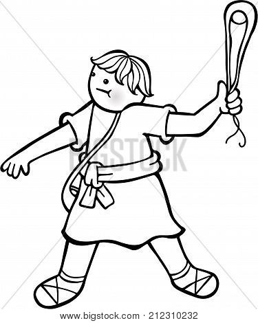 Cartoon illustration of a young David with his sling in his hand.