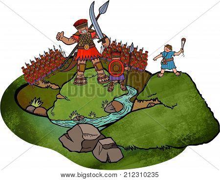 Cartoon illustration of the David and Goliath battle scene.