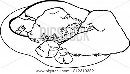 Doodle cartoon of a valley and hill landscape coloring page.