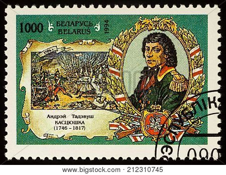 Moscow Russia - November 05 2017: A stamp printed in Belarus shows portrait of Tadeusz Kostyushko (1746-1817) series