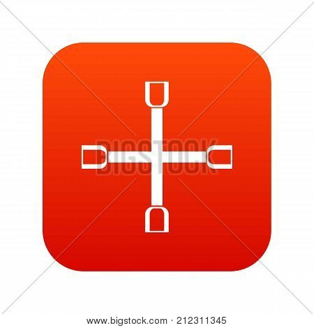 Wheel wrench cross icon digital red for any design isolated on white vector illustration