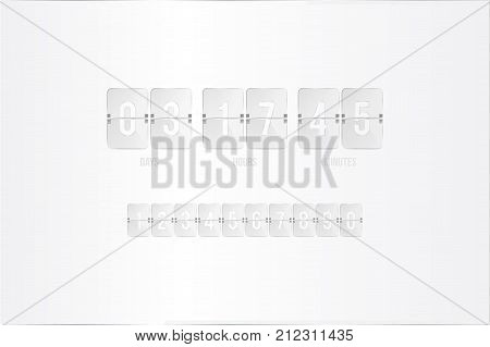 Transparent Countdown Timer And Clock Counter With A Set Of Numbers. Flat Vector Illustration Eps 10