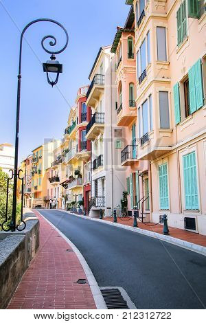Houses Along The Street In Monaco-ville, Monaco