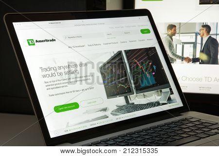 Milan, Italy - August 10, 2017: Td Ameritrade Website Homepage. It Is A Brokerage Firm Based In Omah