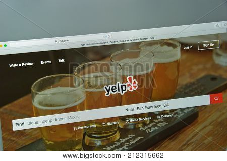 Milan, Italy - August 10, 2017: Yelp Website Homepage. It Is An American Multinational Corporation.
