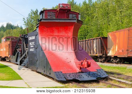 Vernon August 2015 This is an historic locomotive snowplow part of the revelstoke railway museum and visited by many tourists in this month for admir its mechanics that made it so powerful