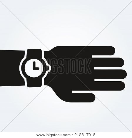 Watch on hand, punctuality concept, vector illustration