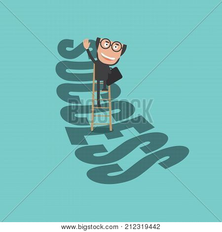 Happy Businessman Climb Up Ladder of Success. Life Business Successful Concept Vector Illustration. EPS 10