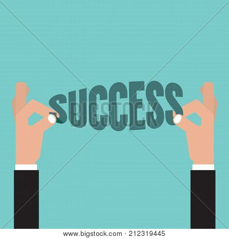 Hand Pick Up Success Word. Life Business Successful Concept Vector Illustration. EPS 10