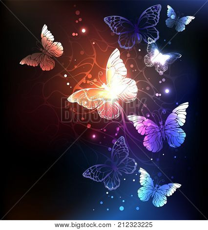 Night glowing butterflies on a dark abstract background. Night butterflies. Design with butterflies.