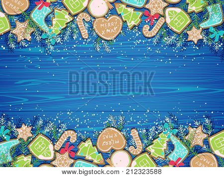 card happy new year with collection of gingerbread parliament cake and christmas tree branches