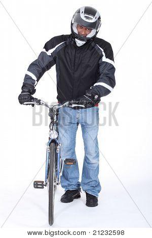 very  cautious biker