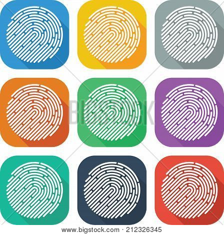 Colorful Flat Finger Print Icon Vector Design For Mobile App