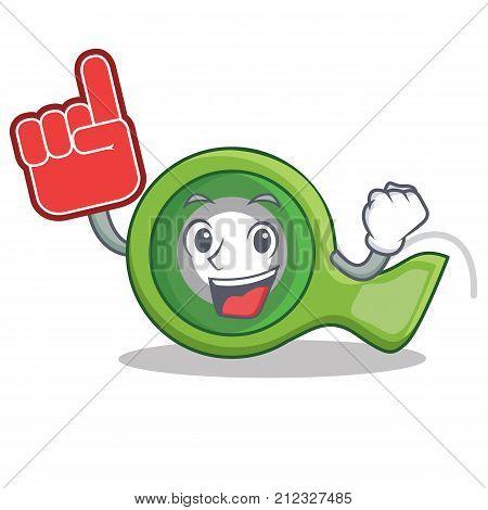 Foam finger adhesive tape character cartoon vector illustration