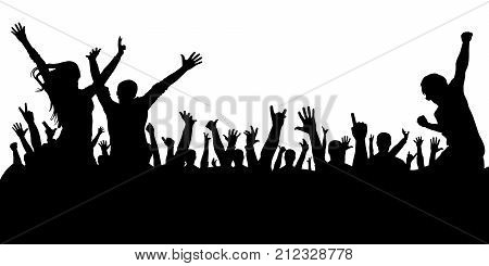 Crowd of people at a concert silhouette