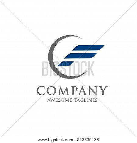 creative letter f with circle logo, fast sport letter f logo