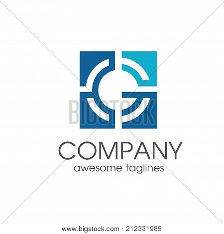 simple modern creative letter G square target icon vector, letter G concept