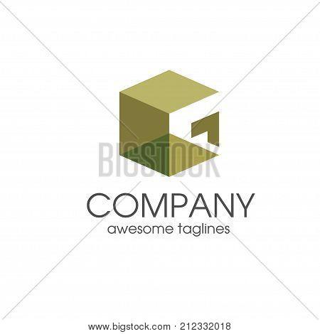 simple modern creative letter G square 3d vector, letter G concept