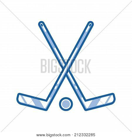 Crossed hockey sticks and puck icon in line art. Ice-hockey championship logo or label template in outline design.