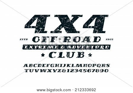 Italic serif font and off-road club emblem. Letters and numbers with rough texture for logo and title design. Print on white background