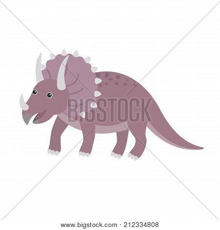 Triceratops dinosaur. Vector illustration of cartoon dino. Happy dinosaur, illustration for children