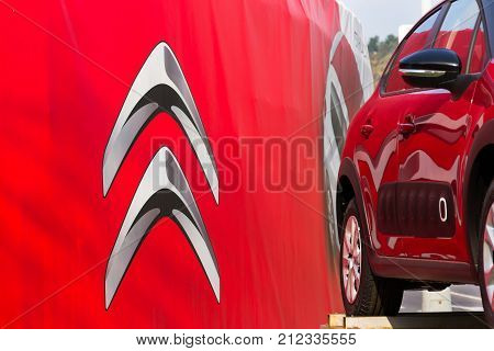 Prague, Czech Republic - November 5: Citroen Car Company Company Logo In Front Of Dealership Buildin