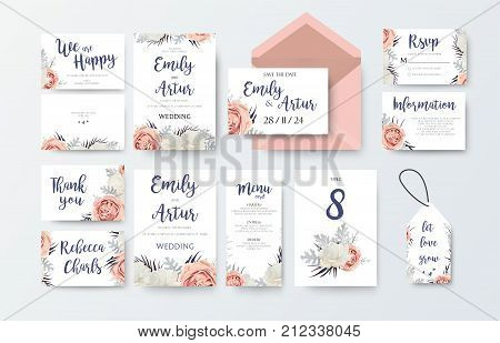 Wedding invite invitation menu thank you rsvp label card vector floral design with pink peach garden Rose white peony flower agonis dusty miller miller leaves pattern. Watercolor elegant big set