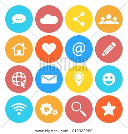 Set of social networking icons. Flat design style. Isolated on white background.