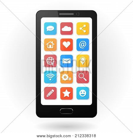 Set of social icons with smartphone. Flat design style. Isolated on white background.