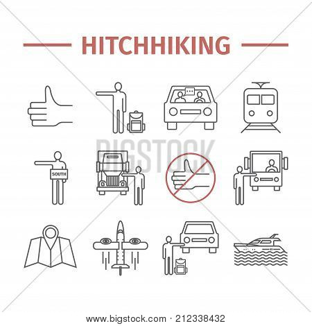 Hitchhiking line icons set. Vector travel sign