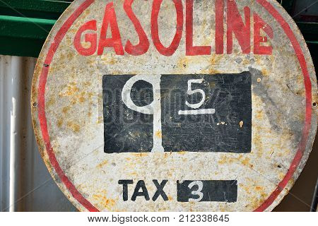 Old sign with gas prices in Illinois.