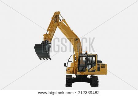 Excavator loader model isolated on white background