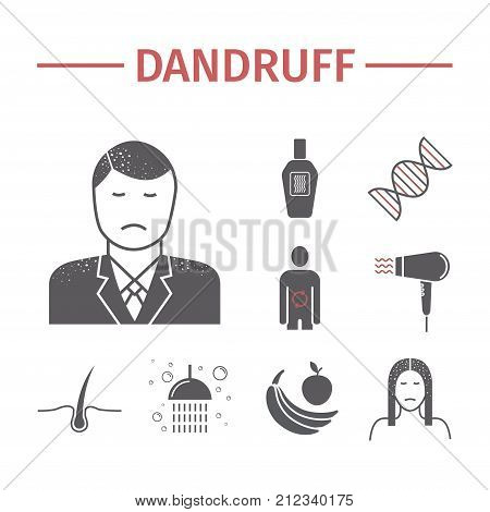 Dandruff. flat icons set. Vector signs for web graphics. poster