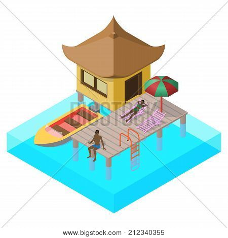 Scene of rest in isometric view with sea bungalow, motorboat, sun beds, umbrella and people.