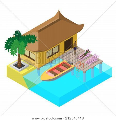 Scene of summer rest in isometric view with sea bungalow, motorboat, sunbeds, palm tree, pier and people.