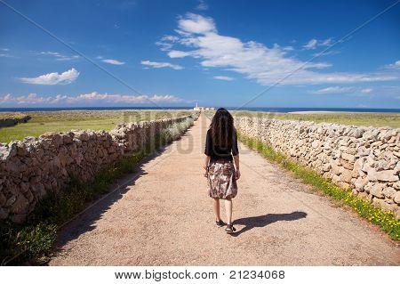 rural road towards Punta Nati Cape at Menorca island in Spain poster